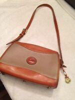 Vintage Dooney & Bourke All Weather Pebbled Leather Tan & Taupe Shoulder Bag