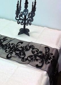 Halloween Gothic Black Table Runner