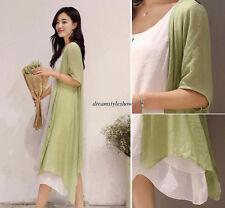 Vintage Women Casual Cotton Linen Loose A Line Tunic Maxi Boho Summer Long Dress