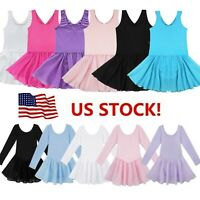 US Girls Ballet Dance Leotard Dress Skate Tutu Skirt Gymnastic Dancewear Costume