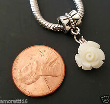 White Rose Flower Dangle fits Silver European Charm Bracelets