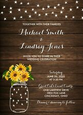 Rustic Country SunFlowers & Lights Wedding Invitations 50