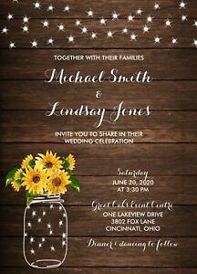 Rustic Country SunFlowers & Lights Wedding Invitations 50