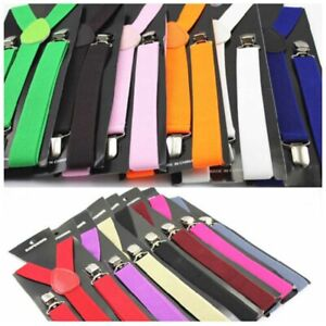 Unisex Mens Elastic Clip On Solid Color Y-Shape Adjustable Braces Suspenders