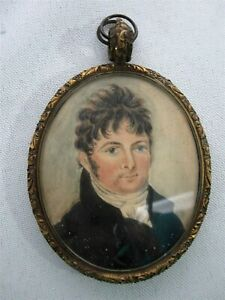 ANTIQUE SIGNED MINIATURE PORTRAIT PAINTING of REV. CHARLES SWANN 1772-1846