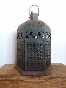 Aged Large Vintage Metal Moroccan Style Garden Lantern
