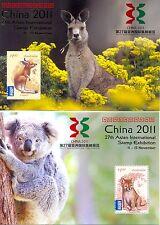Australia-China 2011 Setof 2 HOJAS estampillada sin montar o nunca montada-Koala/Canguro