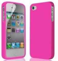 Hot Pink Silicone Rubber Case Cover Skin for iPhone 4G 4S with Screen Protector