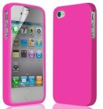 Hot Pink Silicone Case Cover Skin for iPhone 4G 4S Screen Protector & Stylus