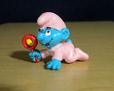 Baby Smurf Pink Pajamas Red Rattle Vintage Smurfs Figure PVC Toy Figurine 20202