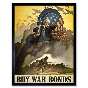 Propaganda Wwii War Usa Bond Stars Stripes Flag 12X16 Inch Framed Art Print