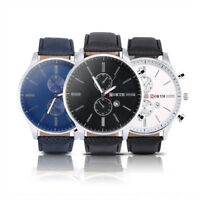 Men's Casual Watches Leather Band Analog Quartz Alloy Round Business Wrist Watch
