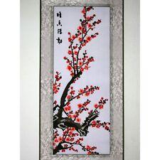 """Chinesische Blumen """"Pflaumenbüte"""", Stickbild, Stoffbild, Stickerei, Stickkunst"""