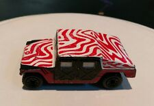 Vintage 1998 Matchbox Humvee Funky Red White Animal Print vehicle Mattel weird