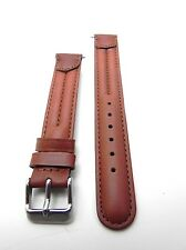 16mm Light Brown Double Stitched Padded Genuine Leather Watch Band Strap
