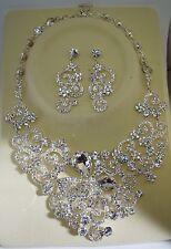 Bridal Wedding Jewelry Set FLORAL Pattern Crystal Rhinestone Necklace+Earrings