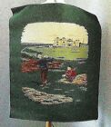 COLLECTIBLE  THICK FABRIC  WALL TAPESTRY ART~35 H X 27 W~ PLAYING GOLF