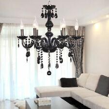 Araña de Cristal Plata 6-armig Cuimbra Lámpara Corona Negro Candelabro Hall New