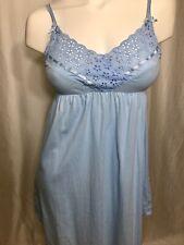 Victorias Secret S Cotton nightie chemise blue w/ eyelet lace A+