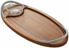 Nambe Braid Acacia Wood Serving Board with Glass Dipping Dish 18 Inch - Espresso