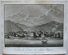 Veduta Locarno Lago Maggiore Ticino Schweiz Orig Aquatinta Bussi 1800 Suiza
