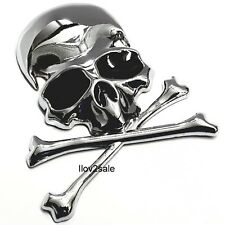 3D Metal Calavera Esqueleto Huesos Cruzados Pegatina De Motocicleta Auto Camión Emblema De Etiqueta