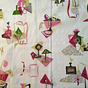 Vintage Textured Fabric Curtain Mid Century Modern Atomic Cream Pink Green
