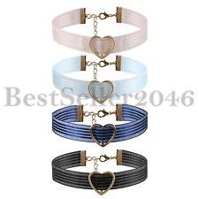 4pcs Womens Wide Lace Heart Gothic Punk Choker Tattoo Collar Necklace Jewelry