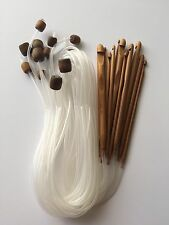 "New! 47"" Set of 12 Bamboo Afghan Tunisian Crochet Hook Needles C-N (3-10mm)"