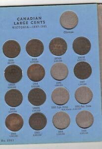 38 OLD CANADA LG. CENTS in whitman folder (1858-1920)