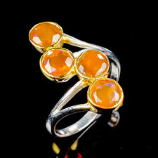 Rainbow5x5mm Natural Orange Opal 925 Sterling Silver Ring Size 6.75/R122021