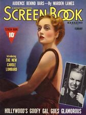 CAROLE LOMBARD great 8x10 magazine cover SCREEN BOOK from 1939 -- (z003)