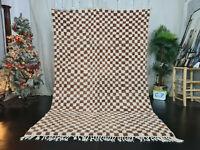 Beni Ourain Moroccan Handmade Wool Rug 5'7x8'6 Checkered Berber White Brown Rug
