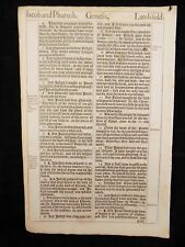 1611 KING JAMES BIBLE LEAF PAGE * BOOK OF GENESIS 46:13-47:27 * JACOB IN EGYPT *