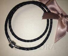 Pandora tamaño 38 Cm Doble Trenzado Pulsera De Cuero Negro