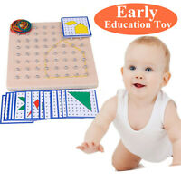 Wooden Montessori Nail Geoboard with Cards Math Learning Education Kids Toy