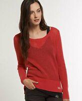 Superdry Crochet Crew Coral Blush Top Knit Jumper Size Medium*REF64