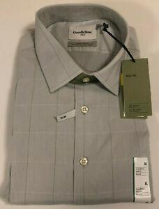 Goodfellow & Co Men's Slim Fit Dress Shirt Gray Plaid Stretch Sz XL 17-17.5 NWT