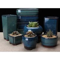 Ceramics Chinese Bonsai Flower Pot Round Glazed Plant Flowerpot Home garden dec