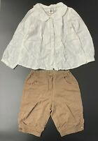 ZARA Baby Shirt & Jacadi Shorts Clothing Set - Age 2-3 Years - White & Brown