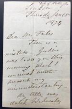 Arthur Wellesley, 3nd Duke of Wellington, ALS, 1874