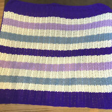 "Handmade Crochet Afghan Throw blanket pastel colors purples 52""Lx42""w soft"
