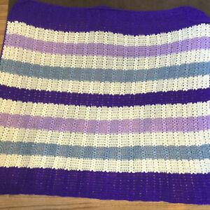 "Handmade Crochet Afghan Throw blanket pastel colors purples 52""Lx42""w soft"