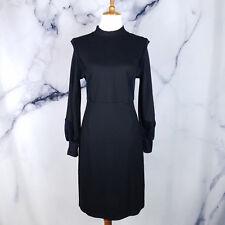 Reiss Womens Lulu Dress 10 Black Velvet Detail Bishop Long Sleeve Cocktail