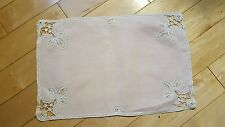 "VINTAGE ~ 4 PIECE LINEN DOLIES ~ PINK WITH WHITE~ 17 1/2"" x 11 1/2"""