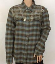 Ladies Stonewashed Check Boyfriend Shirt With Embellished Yoke Size 10 - New