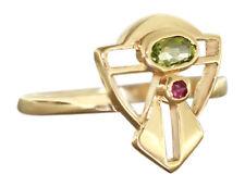 Goldring 750 mit Peridot Rubin Jugendstil Design Ring Gold Peridotring Damenring