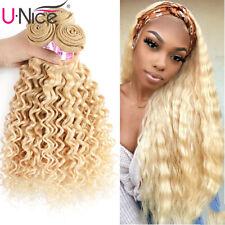 Brazilian Deep Wave 613 Blonde Human Hair Extensions 1/3 Bundles Curly Hair Weft