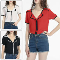 Women Shirt Chiffon Summer Ladies Formal Office Blouse Tops Short Sleeve