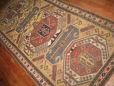 Antique Caucasian Shirvan Eagle Lenkoran Kazak Rug Size 4'4''x9'1''